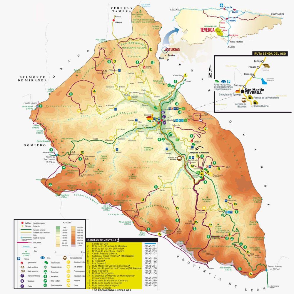 Mapa de Teverga y sus rutas